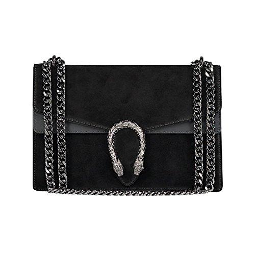 RACHEL Umhängetasche Handtasche mit Kette und Schließen von Zubehör metallischen dunklem Nickel, Glatteleder und Wildleder, Hergestellt in Italien groß Schwarz