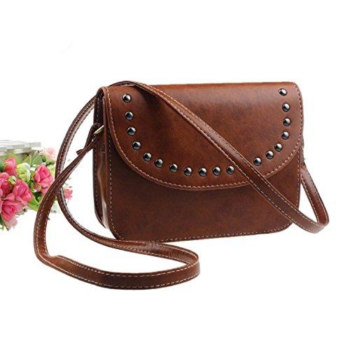 Susenstone Messenger Bag borsa delle donne dei sacchetti di spalla Leather Tote colore marrone