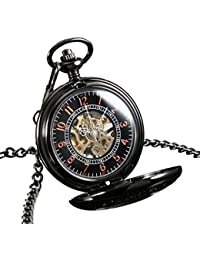 Reloj Bolsillo Mecánico Negro Cadena Caja Acero Inoxidable Mano Blanca Regalo Más Lejos