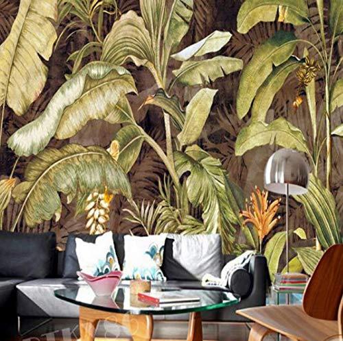 Carta Da Parati Foglia Di Banana Giapponese Retro Carta Da Parati Foto Parete Murale Soggiorno Decorazione Murales 3D Imitazione Panno Di Seta 400X280Cm