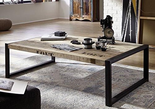 MASSIVMOEBEL24.DE Massivholz Möbel Bedruckt Industrial-Stil Mangoholz Couchtisch 140x80 vollmassiv Eisen Factory #111