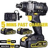 Impact Driver, TECCPO 180Nm Cordless Impact Driver 18V, 30min Fast Charger, 2 Batteries