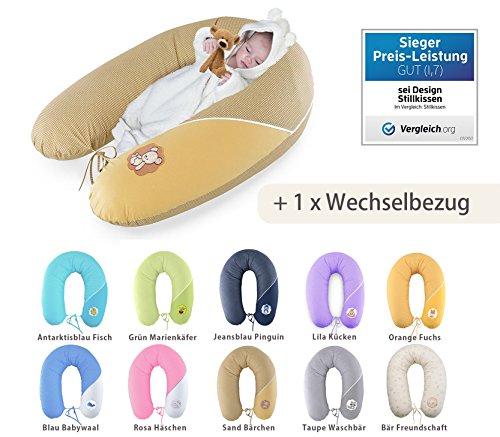 Sei Design Baby Stillkissen Schwangerschaftskissen XXL 190 + 1x noch ein Kissenbezug aus Baumwolle - schadstoffgeprüft |Füllung: langlebige Faserbällchen kuschlig & leise. Bezug mit Reißverschluss und hochwertiger Stickerei