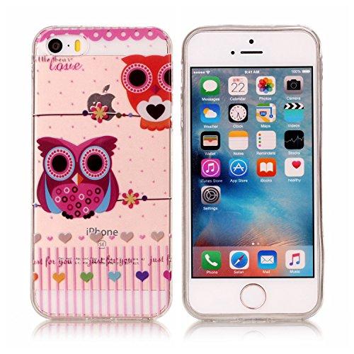 Coque iPhone 5S, Étui iPhone SE, iPhone 5S/iPhone SE Case, ikasus® Coque iPhone 5S/iPhone SE Étui Housse avec Mandala Fleur Papillon Hibou Couleur peinte Transparent TPU Silicone Étui Housse Téléphone Couple hibou