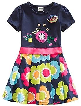 VIKITA Mädchen 2017 Kurze Ärmel Baumwolle Kleid 3-8 Jahre