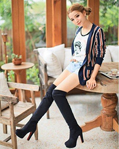 Minetom Femme Hiver Chaussures Sexy Mode Suède Over Knee Bottes Svelte Talons Hauts Bout Rond Boots Noir