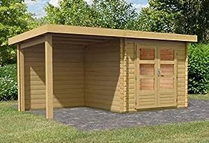 karibu woodfeeling gartenhaus bastrup 2 mit schleppdach 2 meter und r ckwand au enma haus b x. Black Bedroom Furniture Sets. Home Design Ideas