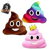 Emoji Kissen Großer Kachhaufen 3 Stück Set, Emoticn Weiche Gefüllte Plüschkissen, 30x30cm, Farben – kackbraun, rosafarbige Prinzessin, Regenbogen