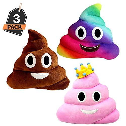 Kompanion cuscino emoji grande a forma di cacca set da 3 pezzi, cuscino imbottito emoticon poo morbido e soffice - 30x30cm, nei colori marrone cacca, rosa principessa e arcobaleno