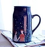 ufengke® 550Ml Kreative Keramik Verfärbung Becher Tee Und Kaffeetasse Milchbecher Mit Deckel,Glühwürmchen Nacht