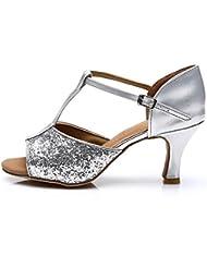 Roeua femenino ES7-F16 satín latino la danza el zapato