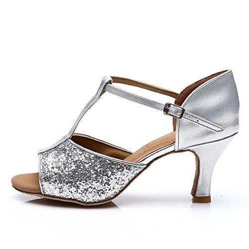 HROYL Damen Tanzschuhe/Latin Dance Schuhe Satin Ballsaal Modell-D7-216 Silber EU39