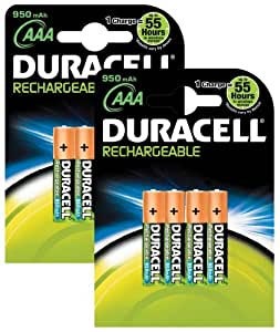 8 DURACELL AAA 950mAh SUPREME RECHARGEABLE BATTERIES