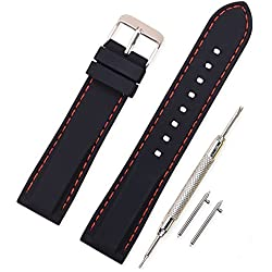 Vinband Correa Silicona Reloj Correa Suave Reemplazo de Banda de Acero Inoxidable Hebilla - 18, 20, 22, 24 mm Correas de Cuero para Reloj (24mm, negro-rojo)