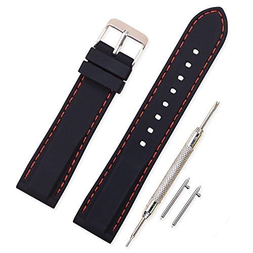 Vinband Correa Silicona Reloj Correa Suave Reemplazo de Banda de Acero Inoxidable Hebilla - 18, 20, 22, 24 mm Correas de Cuero para Reloj (22mm, negro-rojo)
