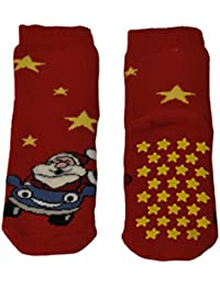 CHILDS ANTI SLIP SOCKS | CHRISTMAS SLIPPER SOCKS | SANTA CLAUS COTTON SOCKS | BLU, RED | SIZES 7/10, 11/1, 2/5 | ITALIAN HOSIERY |