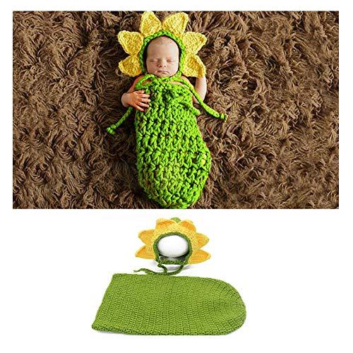 Kostüm Neugeborenen Sonnenblumen - NROCF Sonnenblume Neugeborenen Fotografie Requisiten Strickkostüm Baby Foto-Shooting, Zweiteiliges Set, Sonnenblume Baby Schlafsack