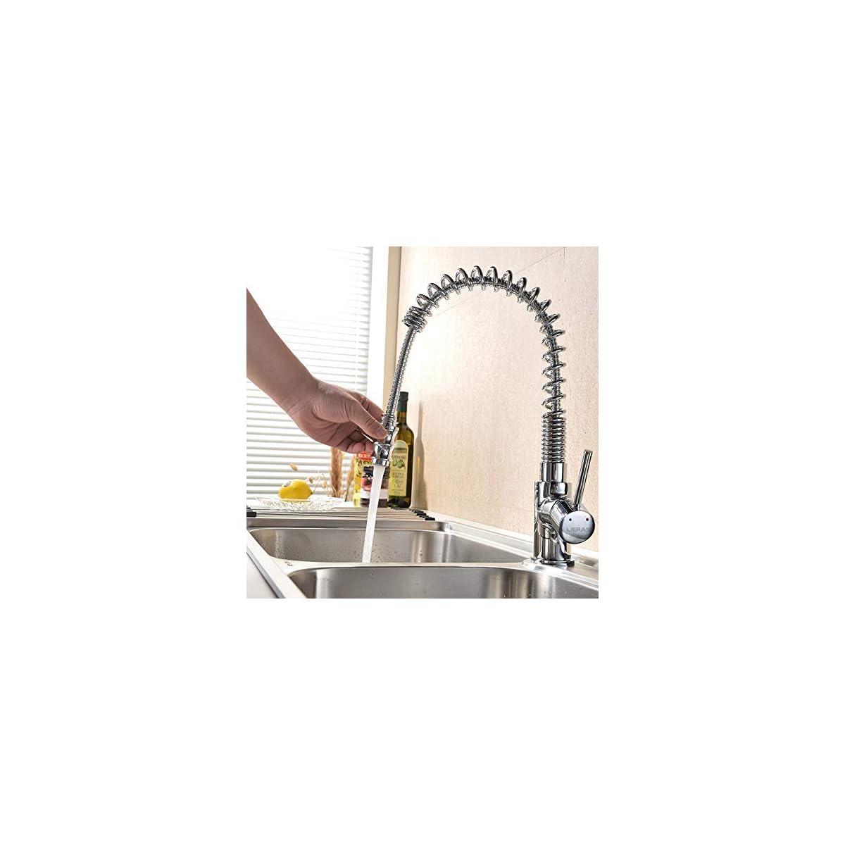 51L7x6HZG8L. SS1200  - LIERAS Grifos de cocina Girar Primavera Canalon Extraer Chrome Pulido Mezclador de bar grifos lavabos,monomando grifo del fregadero de la cocina