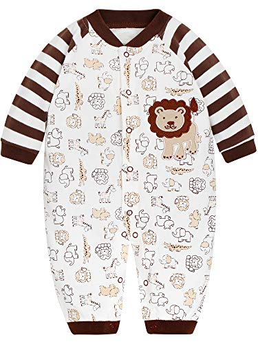SANMIO Baby Strampler Spielanzug Jungen Mädchen Schlafanzug Baumwolle Langarm Overalls Säugling Romper Baby-Nachtwäsche (0-3 Monate, Löwe)