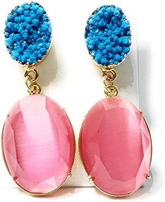Pendientes Mujer Largos Dorados de Ópalo Bisutería de Fiesta Elegante con Piedra Semipreciosa, Varios Colores
