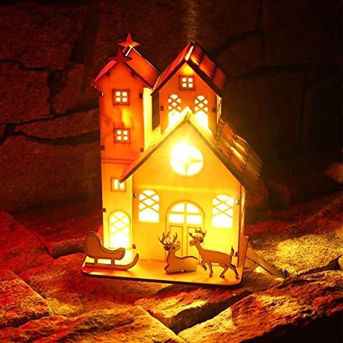 Weihnachten Dekorationen, Beleuchtetes Holzhaus, Rustikales Leuchtendes Licht des Weihnachten 3D Weihnachtsren Hohles Turm Chalet Für Haus Fenster Auto Raum Hotelbar Mall -