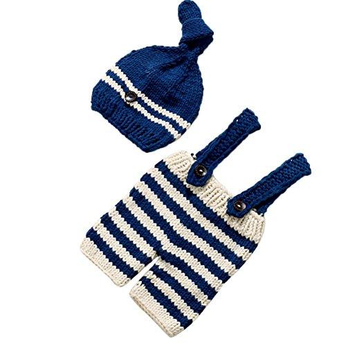 Baby Mädchen Jungen häkeln stricken Kostüm Foto Fotografie Prop Outfits (Navy) (4 Monat Altes Baby Mädchen Halloween Kostüme)