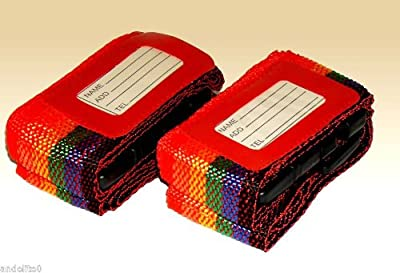2pc Adjustable Luggage Suitcase Belts Travel Security Straps Set - Red - low-cost UK light shop.