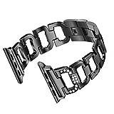 UKCOCO Edelstahlband für Apple Watch Band Strass Diamant 38mm Smart Watch Metallband für iWatch (schwarz)