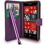 Nokia Lumia 720 Dark Purple Leather Wallet Flip Case Cover Pouch + Free Screen Protector & Touch Stylus Pen - Dark Purple