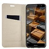 Zanasta Designs Tasche Huawei Nova Plus (MLA-L11) Hülle + Displayschutzglas [ Schutzfolie aus gehärtetem Glas ] Flip Case Slim Schutzhülle Handytasche mit Kartenfach, Standfunktion | Hellbraun -