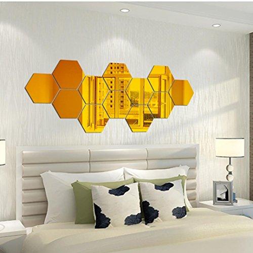 HUHU833 7Pcs 3D Spiegel Hexagon Vinyl entfernbare WandAufkleber Abziehbild Ausgangsdekor Kunst DIY Wohnzimmer Schlafzimmer Wandaufkleber Kunst Aufkleber (A) - Hexagon Spiegel