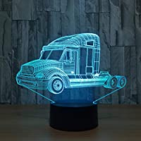 Wuqingren 3D LED Visual Bedside NightLight Children Table Lamp 7 Color Change Car Shape Pickup Car Light Fixture New Year Gift,Touch switch