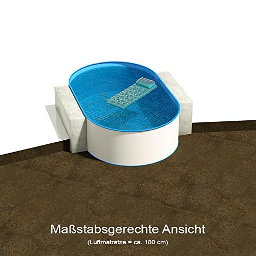 Ovalbecken 4,50 m (L) x 2,50 m (B), Tiefe 1,20 m | Folie 0,80 mm blau | ovales Stahlwandbecken | Pool Made in Germany