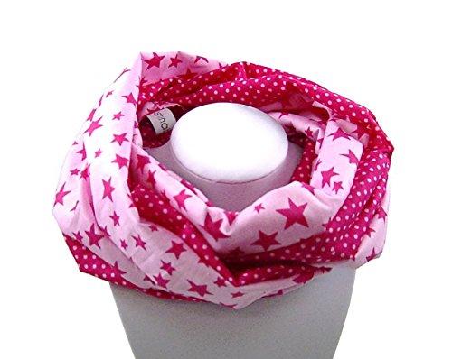 Preisvergleich Produktbild Kinder-Loop Schlauchschal STERNE/PUNKTE pink-rosa - 100% Baumwolle - bettina bruder®