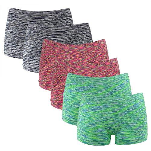 Fabio Farini 6er-Pack Damen Seamless Panties Hipsters Boxershorts aus weichem Microfaser-Gewebe, Farbe: Neon Rot/Grün/Schwarz, Größe: 36-38/ S-M -