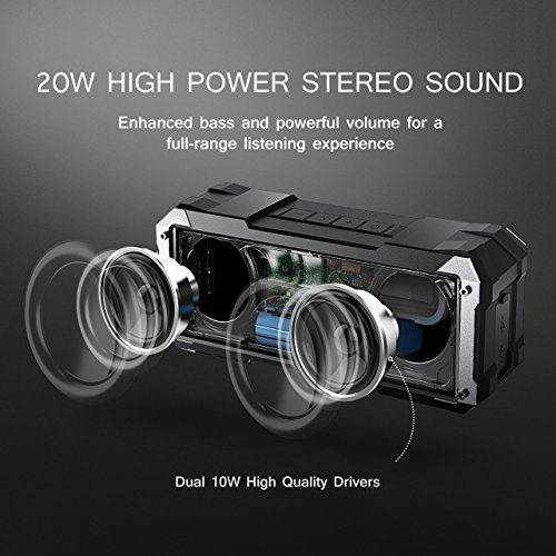 Bluetooth-Speakers-20W-30Hours-4400MAHPictek-Wireless-Speakers-Portable-Speakers-with-Dual-Sound-SourceUpgraded-VersionShockproof-Waterproof-Splashproof-Outdoor-Dual-Driver-with-30-Hour-Playtime-with-