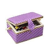 D & D Nähset-Korb für zu Hause, für Aufbewahrung und Organisation, tragbar, für Nadeln, Garn usw., Nähkorb mit Zubehör M violett