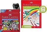 Faber-Castell Étui en carton comprenant 60crayons de couleur, 60 Stifte + Block + Spitzer
