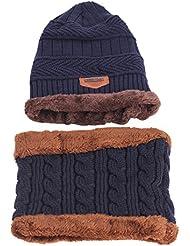 Merssavo Azul Los Hombres Agregar Caliente Cashmere Knit Gorro + Bufanda Artículos de Invierno Cálido