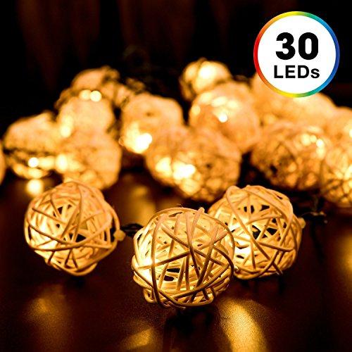 6m 30er LED Solar Lichterkette, DecorNova Globe aus Rattan wasserfeste LED-Lichterkette mit Solarzellen für Dekoration 2 Modi, warmweiß