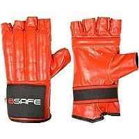 BSafe vaca ocultar piel cuerpo guantes Gel MMA boxeo saco de boxeo artes marciales Karate guante, rojo