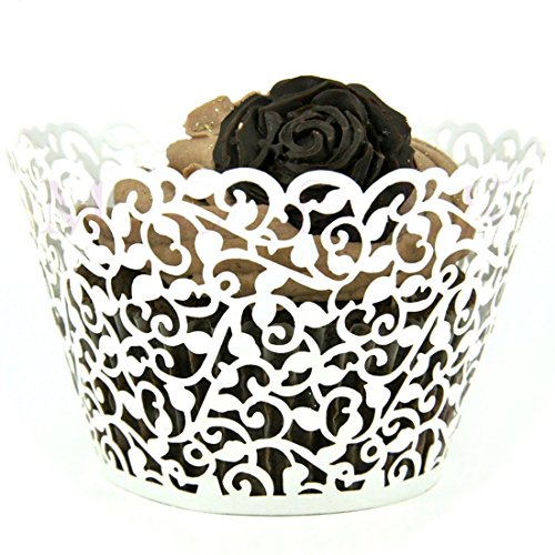 joyliveCY 50 Pearly Papier Vine Spitze Cup Cake Wrappers Cupcake Tower Kuchen Dekoration Supplies weiß