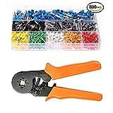Crimpzange Set, BinKe Crimpzangen Aderendhülsen Set mit 0.25-6.0mm Crimpwerkzeug mit 800 Aderendhülsen, Verstellbare Ratsche Stecker Crimper Werkzeuge mit Isolierdraht Steckverbinder