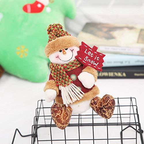 Vijtian - decorazione natalizia a forma di pupazzo di neve con babbo natale e pupazzo di neve, decorazione da appendere per decorare la casa a natale b