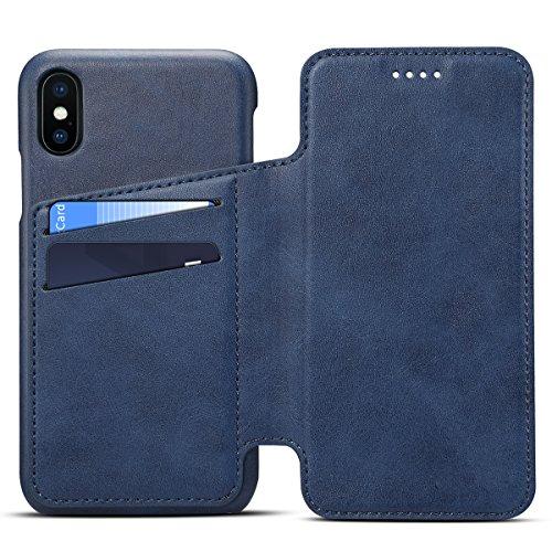 Apple iPhone X Leder Handy Hülle Flip Case Handytasche Cover Schale mit Kredit Karten Fach Geldbörse Geldklammer Leder Handy Schutzhülle,Blau