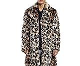 Pelzmantel Kunst Felljacke Herren Leopard Muster Design,AKAUFENG Winterjacke Mantel Kunstpelz lange Jacke Faux Fur
