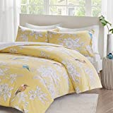 URBAN HABITAT Garden Birds Printed Duvet Cover Set King Size - Yellow & Off White & Floral Animal Pattern - 3 Pics Ultra Soft Hypoallergenic 100% Cotton Quilt Cover Sets