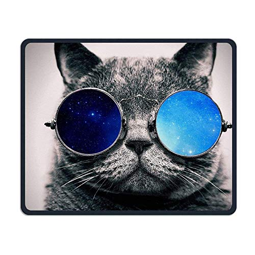 Kitty Cat Galaxy Sunglasses Comfortable Rectangle Rubber Base Mousepad Gaming Mouse Pad