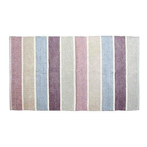 Homescapes waschbarer Chenille Streifen Teppich Vorleger 110 x 170 cm aus 100% reiner Baumwolle, Farbkombination: blau, beige, lila, grau und natur, pflegeleicht und
