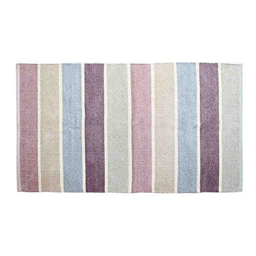 Homescapes waschbarer Chenille Streifen Teppich Vorleger 90 x 150 cm aus 100% Reiner Baumwolle, Farbkombination: blau, beige, lila, grau und Natur, pflegeleicht und strapazierfähig - Chenille Streifen-teppich